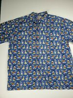 Vintage Disney All Over Print Button Down Shirt Blue Adult Size XL