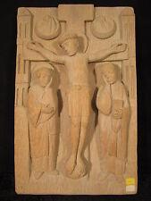 Kreuzigung mit Christus, romanisch, handgeschnitzt, Eichen-Relief, nicht gebeizt