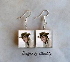Elvis Presley Earrings Young Big Smile Cowboy Hat The King VTG Charm Pendant