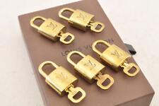 LOUIS VUITTON Vintage Bag Charm Padlock and Key 5 Piece Set Gold LV Auth 4843