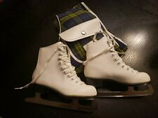 Vintage SLM Women's Compet. Ice Skates, white Leather Size 1 / Vintage Case