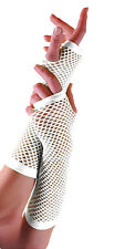 LONG FINGERLESS FISHNET GLOVES- WHITE COLOUR.