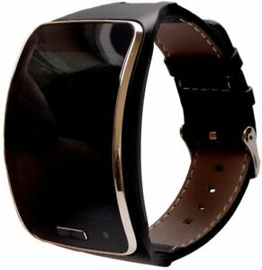 Black Leather Strap Bands for Samsung Galaxy Gear S SM-R750 Watch