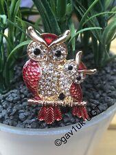 Beautiful Rhinestone Crystal Owl Brooch FREE UK POST
