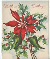VINTAGE CHRISTMAS RED BURGUNDY POINSETTIA FLOWER HOLLY BERRIES GREETING ART CARD