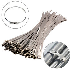 """100Pcs Chrome 12"""" Stainless Steel Header Wrap Straps Self Locking Cable Zip Ties"""