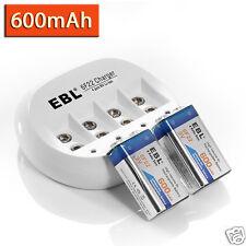 2 x EBL 9V Li-ion 600mAh Rechargeable Battery + 9 Volt Battery Charger US