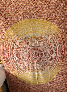 Mandala Orange Yellow Tapestry Indian Cotton Wall Hanging Beach