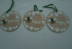 Bee Kind, Bee Yourself, Bee Happy Wood Wooden Round Floral Hanging Plaque Sign