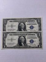 1935 E One Dollar Silver Certificate  consecutive Blue Seal