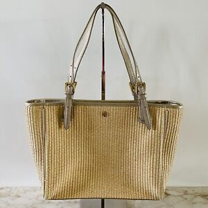 TORY BURCH Solid Yellow Straw Tote Bag Metallic Gold Leather Finish