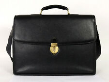 BALLY Black Leather Combination Lock Double Gusset Large Briefcase Bag