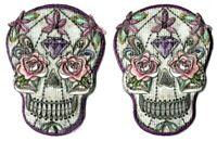 Skull Pastel Flowers Skeleton Patch [Lot of 2] Emblem Symbol Badge Insignia