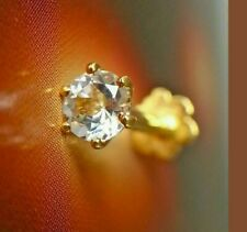 4 mm Diamond 14k Yellow Gold Over Nose Piercing Stud Screw Ring Pin