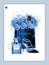 Navy Blue Black Fashion Print Glamour Flowers Shoes Pefume Wall Art Bedroom A4