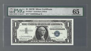 US Silver Certificate 1957B ✨ $1 REPLACEMENT NOTE Fr#1621* ✨ PMG 65 GEM UNC