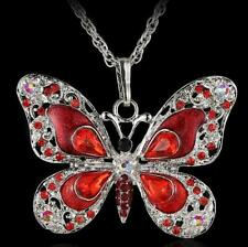Pendant Betsey Johnson Enamel Retro Red butterfly Rhinestone Necklaces Fine
