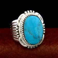 Sterling Silver Turquoise Men's Ring Size 10  Native American Made --- R45 K T