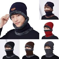 Men Winter Hat Knit Visor Beanie Fleece Lined Billed Beanie with Brim Watch Cap