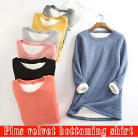 Women T Shirt Cotton Soft Warm Wool Winter Lambs Thick Long Thermal Sleeve