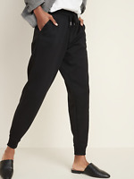 Old Navy Jogger Pants Mid-Rise Tapered-Leg Black Small 608244 HBV2