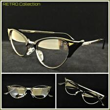Classy 60s Retro Cat Eye Style Clear Lens EYE GLASSES Black & Gold Fashion Frame