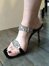Glamerous Glitzy Giuseppe Zanotti Vicini High Heel Sandals With Crystals Size 38