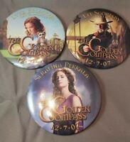 Vintage Promo Pinback Button Golden Compass movie Pin Lot of 3