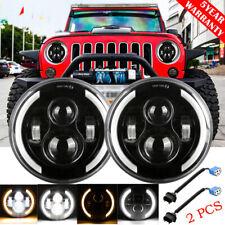 DOT 7inch Round LED Headlight /w Halo Angle Eyes DRL For Jeep Wrangler JK LJ TJ