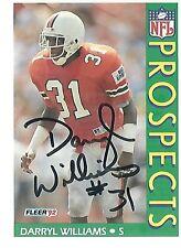 Autographed Darryl Williams Miami Hurricanes 1992 Fleer Football Card #451