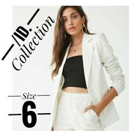 ID collection women's white lined pinstripe floral button up blazer acket size 6