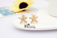 Super Sparkly Starfish Full Inlaid Clear Rhinestone Crystal Clip On Earring
