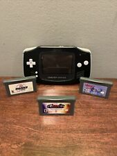 Nintendo Game Boy Advance Black Handheld System AGB-001 W/ 3 Games! Tested/Works