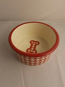 Red And White Houndstooth Ceramic Dog Bowl
