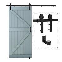 5/6/6.6/8/10FT Sliding Barn Door Hardware Kit Single Door Adjustable Floor Guide
