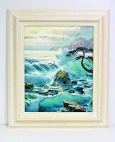 Ocean Surf Waves Sunset 16 x 20 Art Oil Painting on Canvas w/ Custom Frame