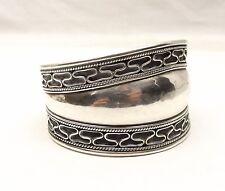 Vtg Sterling Silver Wire Filigree Cuff Bracelet Ornate Taper Wide Band Heavy