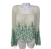 Freja Beha For Free People Floral  Embroidered Ivory Crop Peasant Top Boho Sz S