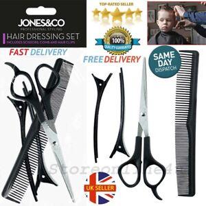 4Pcs Hair Dressing Set of Scissors Comb Clips Salon Men Women Barber Hair Cut UK