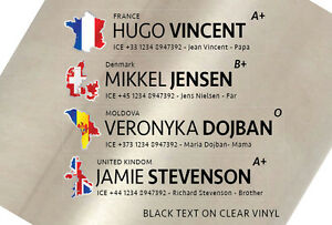 5x 16mm Custom Personalised Name Flag ICE for Bike frame or helmet. Clear vinyl