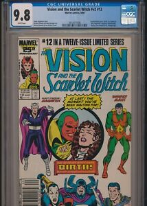 VISION AND THE SCARLET WITCH #12 CGC 9.8 WP NEWSSTAND 1st TWINS WICCAN SPEED