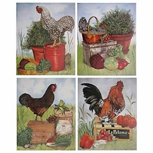 Rooster Chicken Farm Animal Four 8x10 Set Picture Kitchen Wall Decor Art Print