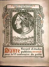 Dante mélanges de critique Union intellectuelle franco-italienne 1921 numéroté