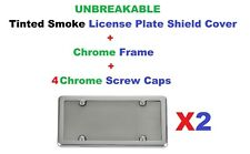 2 UNBREAKABLE Tinted Smoke License Plate Shield + 2 Chrome Framеs for Vehicles