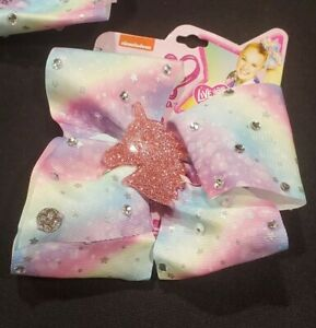 1 NEW JoJo Siwa Multicolored Pastel Hair Bow Clip Stars/Rhineston/UNICORN CHARM!