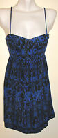 Twenty One Royal Blue & Black Stretchy Silky Bustier Short Dress Size Small
