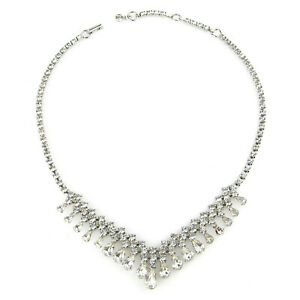 """Vintage Sterling Silver Wedding/Special Occasion 14-16"""" White Sparkle Necklace"""