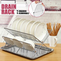 Foldable 2 Tier Bowl Plate Dish Drainer Drying Rack Tray Kitchen Cutlery Holder
