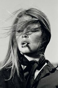 Brigitte Bardot Smoking Art Canvas Poster Print  Movie Star Pinup Super Model