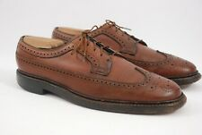 Vtg Florsheim Royal Imperial 5Nail Longwing Wingtip Brown Leather Shoes 9.5C